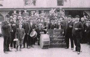 Harmonie in 1907 bij een rondwandeling naar vakantiekolonie op het Gatbroek.